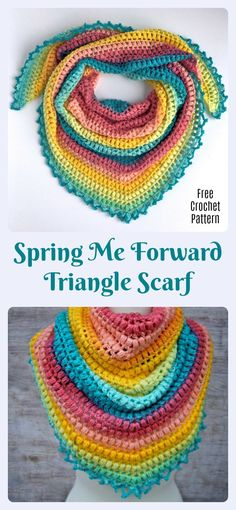Spring Me Forward Triangle Scarf Free Crochet Pattern Video Tutorial - Hastag Stalk Crochet Triangle Scarf, Crochet Scarf Easy, Crochet Scarves, Crochet Shawl, Crochet Yarn, Free Crochet, Triangle Pattern, Mandala Yarn, Crochet Mandala