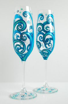 Ocean Waves Wedding Toasting Flutes-Set of 2 Personalized Champagne Flutes hand-painted by Mary Elizabeth Arts