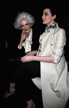 Carmen Dell'Orefice Carmen Dell'orefice and Erin O'Connor in the front row for the Jaeger show, as part of London Fashion Week a/w 2009 at t...