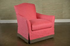 Geneva Swivel Chair in Strawberry Linen with Charcoal Banded Skirt Also Available As