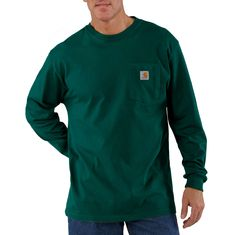 Since 1889, Carhartt has made durable workwear you can count on as you tackle the toughest jobs. This men's long-sleeve t-shirt bears our logo proudly on the chest pocket. It's made of heavyweight cotton jersey and cut generously for a roomy fit.100% cotton jersey, 6.75-ounce: Black, Navy, Port, Hunter Green, Dark Brown, and PeatCarbon Heather: 60% cotton / 40% polyester jerseyHeather Gray: 90% cotton / 10% polyester jerseyAsh: 99% cotton / 1% polyester jerseyRib-knit crewneck and cuffs hold the Carhartt T Shirt, Carhartt Workwear, Work Shirts, Tee Shirts, Work Wear, Like4like, Long Sleeve Shirts, Sleeves, Mens Tops