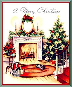 Fireplace with Cat & Tree | vintage Christmas card | Flickr