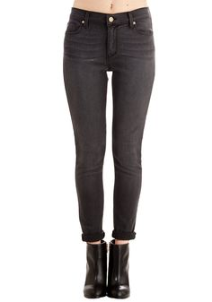 Solid Sense of Style Jeans in Charcoal - Denim, Grey, Solid, Pockets, Casual, Skinny, Variation, Basic