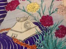 Vintage silk  scarf JACQMAR ARNOLD LEVER 1940s telephone/ carnations   £36.00 (8B)