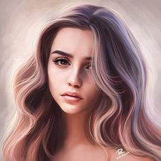 Discover recipes, home ideas, style inspiration and other ideas to try. Digital Art Girl, Digital Portrait, Portrait Art, Girl Cartoon, Cartoon Art, Foto 3d, Cute Girl Drawing, Girly Drawings, Beautiful Fantasy Art
