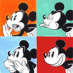Mickey Mouse inspired by Andy Warhol - Large Painting - Tony Fernandez - Original Art Mickey Drawing, Mickey Mouse Drawings, Mickey Mouse Tattoos, Disney Drawings, Cartoon Drawings, Mickey Mouse Pop Art, Mickey Mouse Wallpaper, Cute Disney Wallpaper, Mickey Mouse And Friends