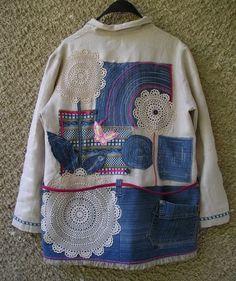 Linen Eco Coat, Shabby Chic Tunic Dress, Artsy Upcycled Clothing by EcoClo, Size L