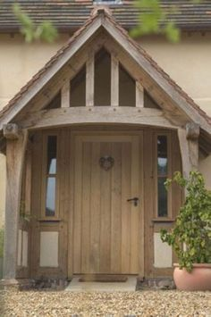 House With Porch, House Front, Style At Home, Building A Porch, Building A House, Border Oak, Front Door Porch, Oak Front Door, Wooden Front Doors