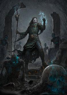 m Half Orc Warlock or Wizard Necromancer by Roman Tishenin Dark Fantasy Art, Fantasy Artwork, Fantasy Rpg, Medieval Fantasy, Fantasy World, Dark Art, Character Concept, Character Art, Concept Art
