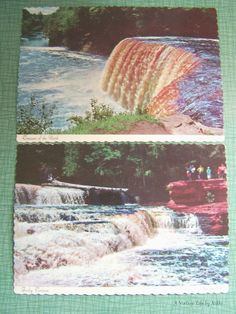 Pair of Vintage Postcards - Unused Unstamped - International Bridge at Sault Ste. Marie, Michigan - Scalloped Edge Postcards by AVintageLifeByNikki on Etsy
