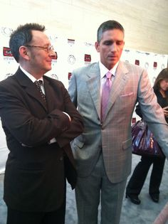 "Interviewing Jim Caveziel and Michael Emerson for ""Person of Interest"" earlier this week....i like the suit"
