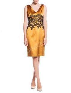 Abiye Elbise Altn sarısı saten siyah dantelli kalem elbise 40