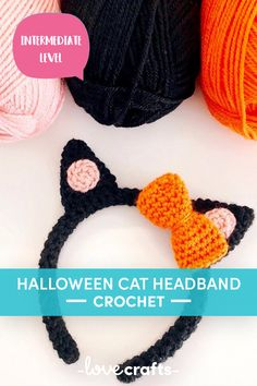 Download this adorable Halloween Cat Ear Headband FREE crochet pattern | Free Downloadable PDF from LoveCrafts.com