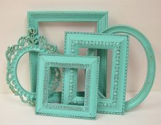 Picture Frame Shabby Chic Picture Frames Set Turquoise Aqua Ornate Cottage Wall Decor