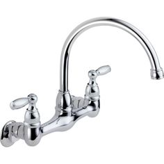 Peerless�Chrome 2-Handle High-Arc Wall Mounted Kitchen Faucet