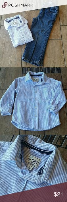 BUNDLE GAP JEANS W/ OXFORD 🙌BabyGap original fit jeans 🙌Blue and white pinstriped oxford full button down 🙌Shirt is from Children's Place 🙌No rips, stains or thinning of knees of jean 🙌Smoke free home BabyGap & Children's Place Matching Sets