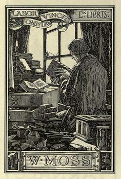 "ex libris bookplate of w moss, ""labor omnia vincit"""