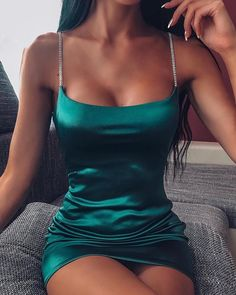 2020 Women Sexy Party Dress Brief Female Spaghetti Strap Solid Bodycon Satin Mini Dress Hoco Dresses, Cute Dresses, Dress Outfits, Casual Outfits, Sexy Dresses, Night Out Dresses, Mini Dresses, Spring Dresses, Going Out Dresses
