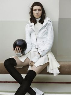 Kati Nescher Dons Leather Looks for Vogue China's August 2012 Cover Shoot #fashion #FashionCherry
