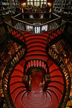 Art Noveau interior.  Lello Bookshop in Oporto, Portugal