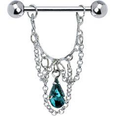 Blue Zircon Teardrop Chain Dangle Nipple Ring #bodycandy #nipplering #gem $6.99
