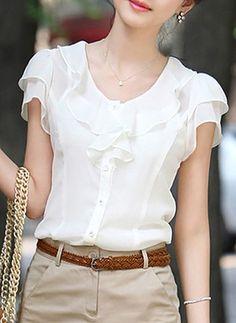 Women s Summer 2015 Plus Size Women Clothing Short Sleeve Ruffle Blouse  Female Chiffon Blouse White And Black 45ce86a634f