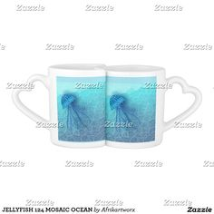 JELLYFISH 124 MOSAIC OCEAN COFFEE MUG SET