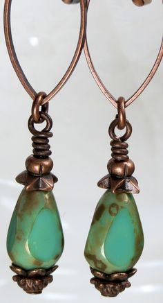 Earrings are lightweight and very comfortable!!!!! Unique Rustic Turquoise Green Czech Glass Beaded Dangle Drop Copper Earrings, Boho Inspired Jewelry