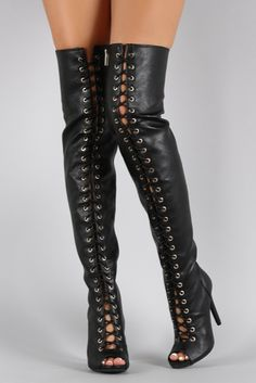 Leather Lace Up Thigh High Boots