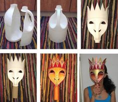 Carnival mask DIY costumes, disfraces - Carnival and halloween - Mascara carnaval DIY Recycled Bottles, Recycled Crafts, Diy Crafts, Recycled Toys, Recycled Materials, Diy Carnival, Carnival Masks, Carnival Signs, Plastic Bottle Crafts