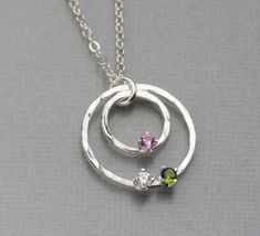 Mothers Birthstone necklace, Sterling Silver Birthstone Jewelry, Handmade Birthstone Pendant, Hammered Silver Circle Necklace #SterlingSilverHammered #handmadesilverjewelry