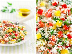 Vibrant, beautiful, completely delicious Couscous with Bell Pepper Salad and Lemon Dressing.