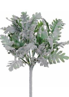 Beautiful flocked dusty miller bush in green grey is the perfect faux greenery accent to wedding bouquets and floral centerpieces.