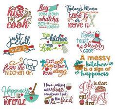 Kitchen Word Art Machine Embroidery Designs by JuJu