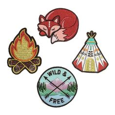 Glamping Patches, Teepee, Sleeping Fox, Campfire, Wild & Free, Camping, Embroidered Patches, Iron On, Applique, Embroidery, Wildflower + Co.