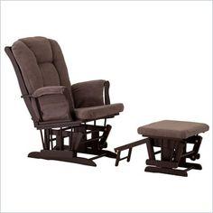 Status Furniture Veneto Glider with Nursing Stool Ottoman - Black with Grey Cushions - 06440-58B
