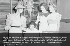 August 25, 1933, Hollywood, California. Young screen starlets' party organized by Anita Louise in the barn behind the Puppet's Party Clubhouse.  L to R:  Anita Louise, Helen Mack, Marion Shilling,  Patricia Ellis.  Anita, Marion, and Pat were WAMPAS Baby stars with Helen a close runner-up in 1931.  Anita Louise's parties became coveted invites among the younger set in 1930s Hollywood.