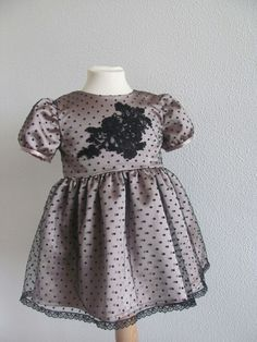 Pale pink satin & dotted tulle with lace applique Poposhka dress. Size 2 years