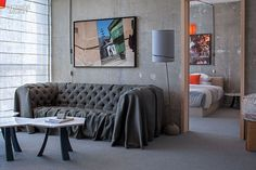 A sitting room in  each suite| Garden designer Sean Knibb takes on his first hotel in LA. See more at: www.interiordesig... #InteriorDesignMagazine #InteriorDesign #design #LA #SeanKnibb #hotel #architecture #landscape