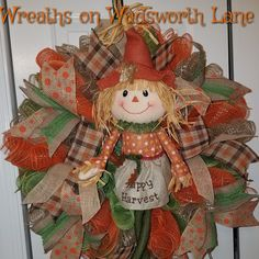 HAPPY HARVEST mesh fall wreath with the cutest scarecrow ever! By Wreaths on Wadsworth Lane Fall Mesh Wreaths, Winter Wreaths, Thanksgiving Wreaths, Christmas Wreaths, Ribbon Crafts, Wreath Crafts, Cute Crafts, Fall Crafts, Fall Yard Decor