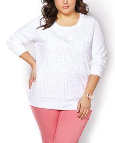 Long Sleeve Lace Front Sweatshirt #penningtons #plussizefashion