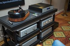 AMG Viella 12 turntable with Aesthetix products and Critical Mass rack at the Rocky Mountain Audio Fest 2012