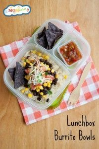 easy to make lunchbox burrito bowls. A great idea to use up leftovers for lunch!