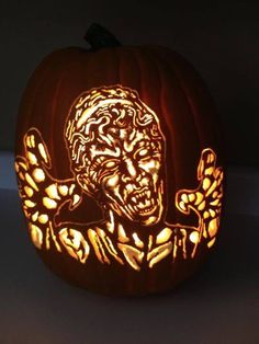 One of my foam pumpkin carves. DON'T BLINK or you'll turn into a pumpkin! Can be purchased here....https://www.etsy.com/listing/161853302/doctor-who-weeping-angel-foam-pumpkin?