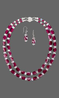 Jewelry Design - Double-Strand Necklace and Earring Set with Swarovski Crystal - Fire Mountain Gems and Beads