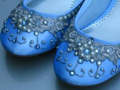 Bridal Ballet Flats Wedding Shoes. It would be my something blue.