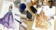 Umělkyně+využívá+lak+na+nehty+pro+malování+noblesních+šatů