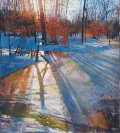Buy Prints of Tree Shadows, Feb. 8, 5:15 PM, a Oil on Canvas by todd doney from United States. It portrays: Landscape, relevant to: scene, snow, stream, sun, great swamp, light snow scene with shadows