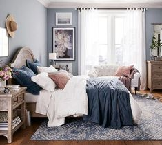 blue and white bedroom // blue and white rug // cottage bedroom Cozy Bedroom, White Bedroom, Bedroom Ideas, Blue Master Bedroom, Silver Bedroom, Bedroom Beach, Single Bedroom, Trendy Bedroom, Bedroom Storage