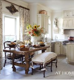 Country French Kitchens A charming collection - The Cottage Market Do you need a little inspiration for your kitchen? These French country kitchens are all stunning examples of country farmhouse style decor. Country Kitchen Designs, French Country Kitchens, French Country House, Country Bathrooms, Country Farmhouse, French Country Curtains, French Country Dining Table, French Bench, Country Hotel